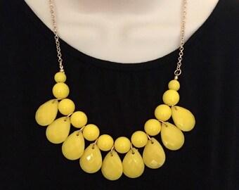 Neon Yellow Bubble Bib Beaded Chandelier Statement Necklace
