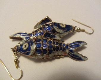 Vintage 70s 80s Enamel Blue movable Fish peirced Earrings