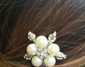 Pearl and Rhinestone Bridal Comb/Bridal Hair Jewelry/Wedding Accessories