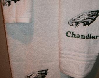 Eagles Personalized  3 piece Bath towel, hand towel & Washcloth Set Football ANY TEAM