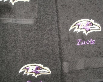 Ravens Personalized Ravens 3 piece Bath towel, hand towel & Washcloth Set Football ANY TEAM