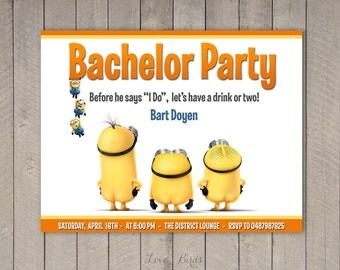 Minion wedding invitation Bachelor / Bachelorette party - Digital file