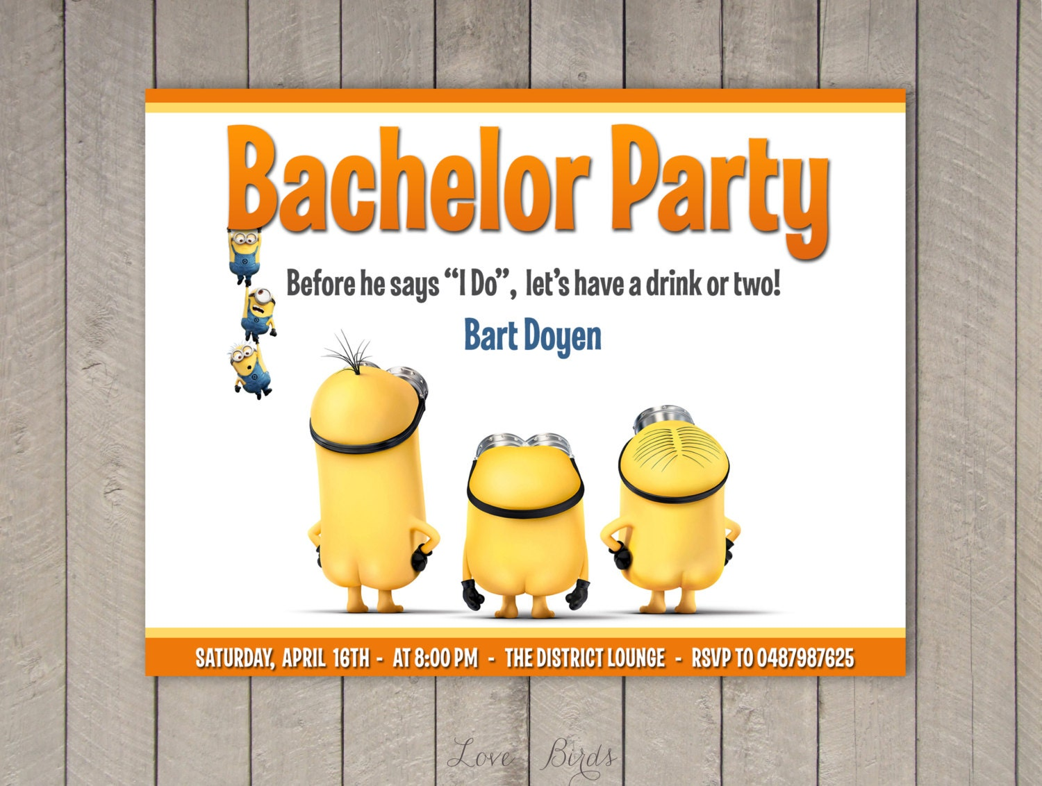 Minion wedding invitation Bachelor / Bachelorette party