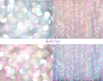 Set of four bokeh textures - texture pack - pink and blue - hearts - digital backdrops