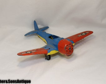 WWII Hubley Bi Plane Toy Plane! GREAT COLORS!