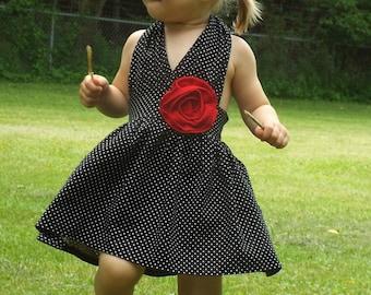 Black and white polka dot dress, Rockabilly dresses, rockabilly clothing, girls rockabilly dress, retro dress, 50s rockabilly dress, toddler