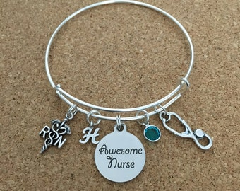 AWESOME NURSE Charm Bracelet, Registered Nurse, Silver-Plated Bangle, RN Charm-Stainless Steel Saying-Stethescope Charm + Crystal/Initial