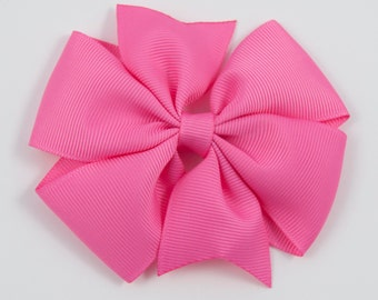 Hot Pink Hair Bow, Pink Pinwheel Hair Bow, Hot Pink Pinwheel Bow, Pink Basic Bow, Pink Pinwheel Hair Clip (Item #10221)
