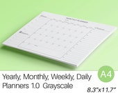 Daily Planner Weekly Monthly Yearly Planners KIT A4 Black Printable Filofax PDF Agenda Calendar To Do List Life Instant Download 5 pages