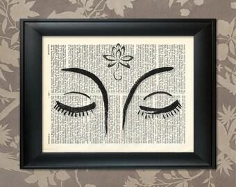 Buddha Lotus Flower, Zen Buddhism, Zen Print, Zen Art, Meditation Poster, Buddha Print, Buddha Art, Zen Gift, Zen Poster, Lotus Flower Art