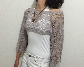 Crop top knit, knit summer sweater, cropped sweater, cropped  summer top, knit spring wear, knit summer fashion, boho top, grey crop top