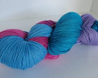 Hand Dyed 80/20 Merino Sock Yarn, Purple Unicorn, 115g/420yards