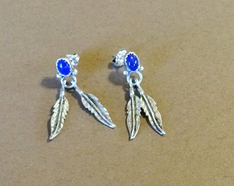Sterling Silver And Lapis Feather Earrings