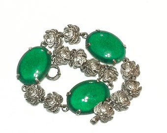 VALENTINE DISCOUNT 10 Art Deco Sterling Silver Bracelet with Chrysoprase Cabochons and Marcasites, Gemstone Roses, 1930s,