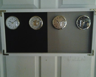Black And Gray, The Original Time Zone Chalkboard Clock , With 3 or 4  Clocks, Time Zone Can Be Changed Anytime.