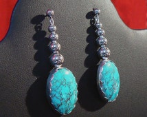 "Sterling Silver and High Grade Bisbee ""Red Web"" Turquoise Earrings on Posts 21 carats TW"