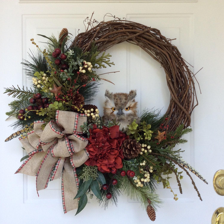Xmas Wreath: Winter Wreath-Owl Wreath-Christmas Wreath-Country
