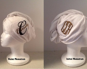 Twist Hair Turban Towel - Personalized - Wedding Hair towel, Swim Club Hair towel, Gym Hair towel, Shower Hair towel,