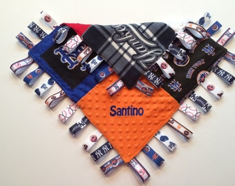 "METS Baby Sensory Ribbon Security Blanket Lovey with Tags 16""x16""  New York BASEBALL Team inspired"