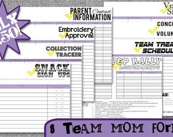 Team Mom Forms and Sign Up Sheets