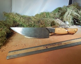 Custom Damascus Chef Knife With Spalted Hacklberry wood Handles
