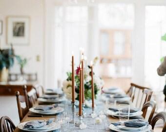 Linen table runner. Swedish blue handmade linen table runner.