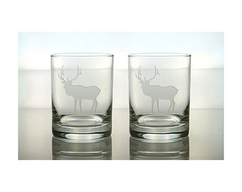 Elk Whiskey Glasses / Set of 2 / Free Personalization / Elk Etched Double Old Fashioned Glass / Elk Engraved Rocks Glass