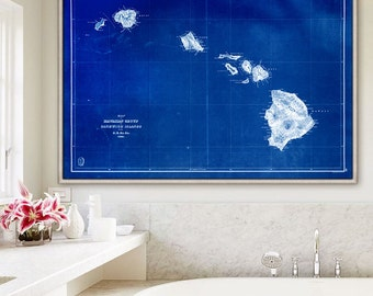 "Old Hawaii map 1841 Large map of Hawaiian islands in 4 sizes up to 54x36"" Vintage map of Hawaii US, also in blue - Limited Edition of 100"