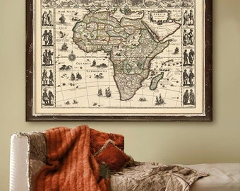 "Africa map 1636, Historical map of Africa in 4 sizes up to 48x36"" (120x90cm) wall map of the African continent - Limited Edition of 100"