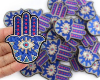 Hamsa Patch - Iron On Patch - Embroidered Applique - Evil Eye