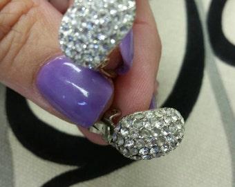 Vintage Carol Le Silver Rhinestone Clip Earrings