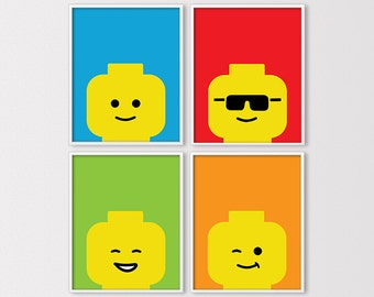 Lego Art, Lego Prints, Lego Decor, Custom Lego Wall Art, Lego Birthday Printables, Minimal Lego, Lego Nursery Wall Art, Digital Download