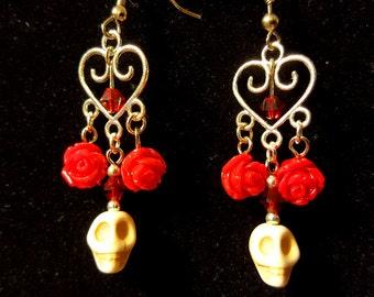Red Roses and Skulls Dangle Earrings