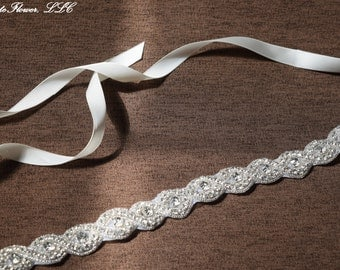 Wedding Sash with Crystal Clear Rhinestone Applique, Bridal Sash, Bridal Chain, Bridal Embellishment, Bride Belt, Bridal Accessory WS7