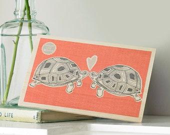 Tortoises In Love Wooden Postcard