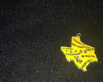 Vintage Enameled Charm Of State Of Texas Made In Japan