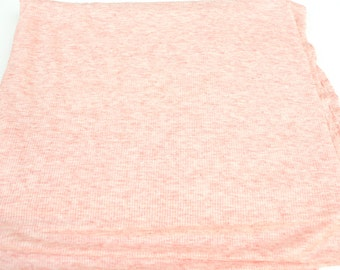 Heather Marble Coral Pink Rib Knit Fabric 1 Yard and 32 Inches  Extra Wide