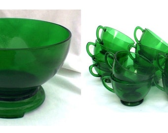 Anchor Hocking Forest Green Punch Bowl  Stand And 14 Cups Mid Century