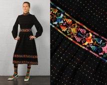 vintage 60s 70s folk dress black wool rainbow floral jacquard ribbon dot pattern long puffy sleeve DiMario Italy medium large M L SALE
