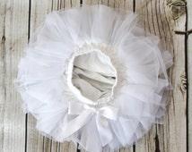 Baby Tutu Skirt, White Tutu Baby Skirt, Baby Tutu, White Baby Bloomers, White Diaper Cover, Baby Diaper Covers, Baby Tutu Bloomers, 2121