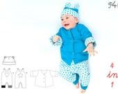 baby set sewing patterns, kids set jacket, lined jacket, newborn girls + boys, baby overall + beanie, easy sewing patterns from Pattern4kids