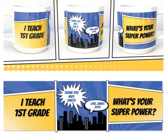 Superpower personalised mug teacher appreciation gift