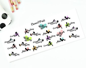 Workout Stickers // Planner Stickers // Mixed Set //  23 Count
