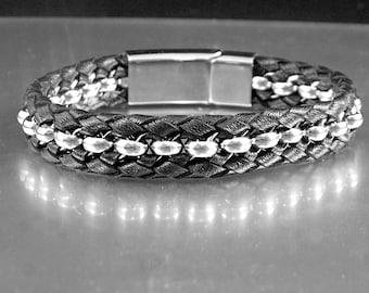 Braided Leather, Chain Bracelet