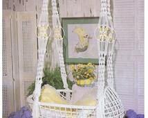 MACRAME PATTERN Vintage 70s Macrame Hanging Swinging Baby Cradle Macrame Baby Cradle Pattern