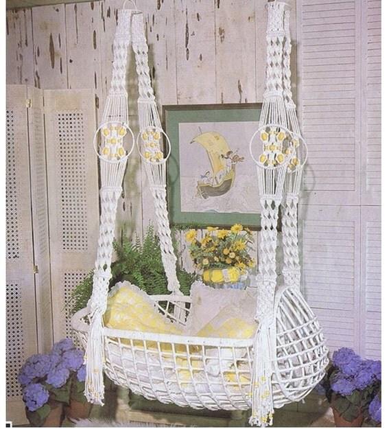 macrame pattern vintage 70s macrame hanging swinging baby