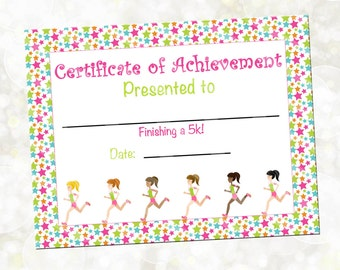 Running certificates etsy running certificate running award 5k award you print instant download girls yadclub Image collections