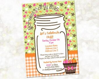 Fall Block Party Invitation - Harvest Party Invitation - Mason Jar Invitation - YOU Print - Pumpkin Patch Party Invitation