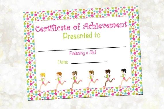 running certificate running award 5k award you print