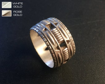 Mens wedding band - Mens wedding ring Sterling Silver, man engagement ring, high detail, 3D Printed.